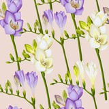 Freesia twigs vector seamless background