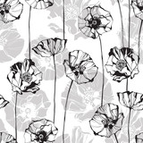 Monochrome seamless pattern with poppies. Hand-drawn floral background.