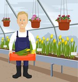 Illustration greenhouse tulips and greenhouse worker