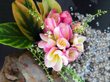lovely charming bouquet of aroma flower plumeria in mini vase decoration