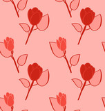 Seamless Pattern with Flowers, Background with Vintage Colors