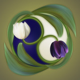 Conceptual banner of the yin-yang simbol. Poster of duality.