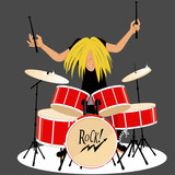 Rock and roll musician playing drums, vector cartoon, no transparencies