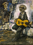 guitarist street gypsy musician original oil painting on canvas, man playing on guitar on the street impressionism painting, modern art impressionism, artwork part of collection