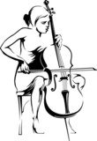 Girl playing the cello. Vector silhouette.