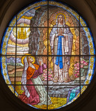 Rome - The windowpane of Virgin Mary of Lourdens