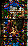 Stained Glass of Construction of a Gothic Cathedral in Leon