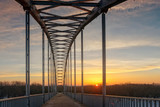 Belarus, Gomel city, pedestrian bridge across the river Sog