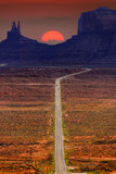 Digitally created image of a roadway leading to Monument Valley.