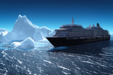 Cruise ship and iceberg