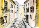 watercolor painting of a narrow street, architecture