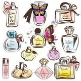Set of different perfumes. Elegant vector illustration