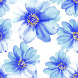 Blue watercolor seamless flowers, pattern.