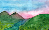 Hills at pink sunset in watercolor.