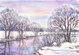 Watercolor painting: russian winter landscape with frozen river