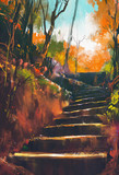 stone stair path in autumn forest,illustration painting