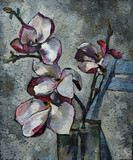Oil painting still life with  purple  magnolia flowers On  Canvas with  texture  in the grayscale