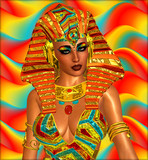Egyptian digital art, Cleopatra,gold and orange