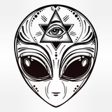 Alien face icon vector illustration.