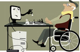 Elderly man in a wheelchair playing chess with a computer, EPS 8 vector cartoon, no transparencies