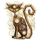 Steampunk Cat Vintage Style-Cat Mechanik Surreal