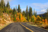 Scenic autumn drive in eastern Sierra mountains