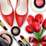 Sets of cosmetics  background with red tullips