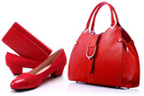Red women shoes and handbag