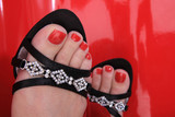 red nails on the feet