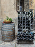 Italy wine barrel outside a pub