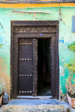 Hand crafted wooden door at Zanzibar