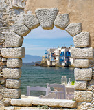 Panoramic view of little Venice on Mykonos Island, Greece