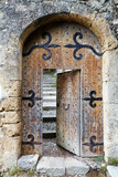 Ajar old wooden door