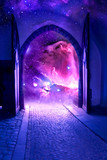 mystical gate with starry universe inside