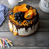 fruit cake on rustic boards