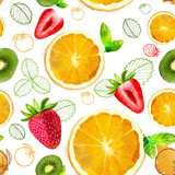 Fruit seamless pattern mixture of orange,kiwi slices, strawberry