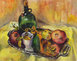 Still life with roses, pomegranates and a bottle of wine on a tray. Watercolor painting