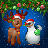 Christmas greeting card with penguin and a reindeer on the decoration background