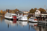 Boats on American River in Old Sacramento California
