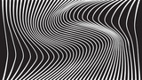 black and white mobious wave stripe optical design