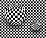 Background 3d black and white, checkered spheres,