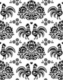 Seamless Polish, Slavic black folk art pattern with roosters